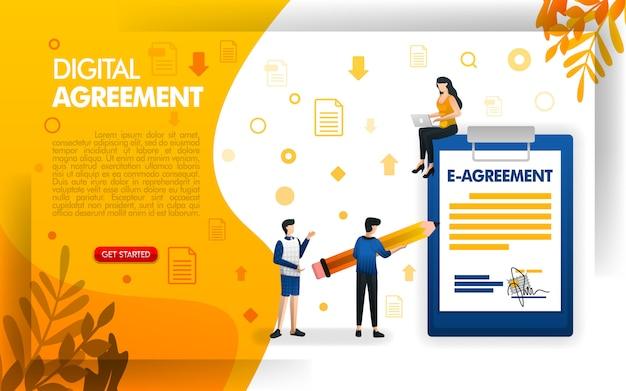 Pagina di destinazione del design per contratti digitali o accordi elettronici