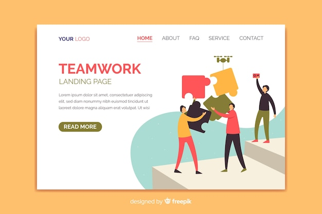 Pagina di destinazione del lavoro di squadra con personaggi illustrati