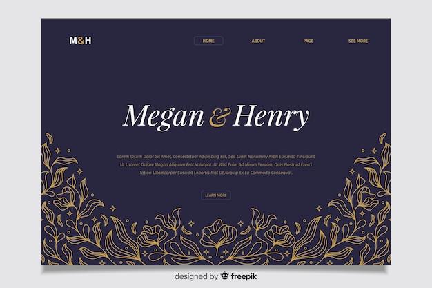 Pagina di destinazione del matrimonio blu