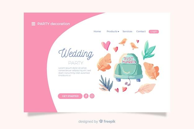Pagina di destinazione del matrimonio con elementi carini