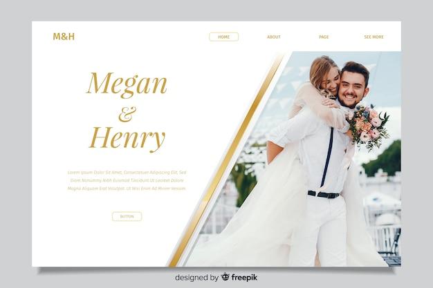 Pagina di destinazione del matrimonio con foto