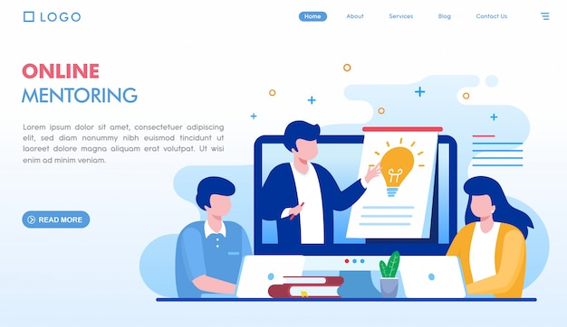 Pagina di destinazione del mentoring online