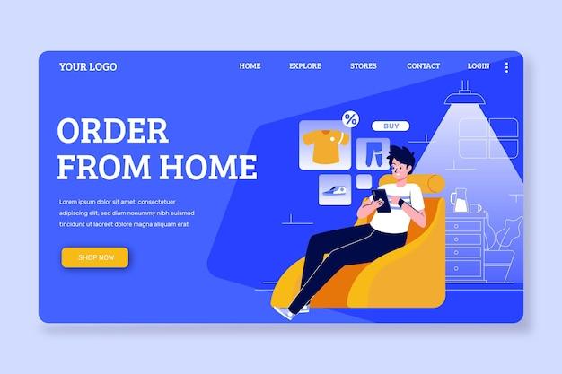 Pagina di destinazione del modello di design piatto online dello shopping