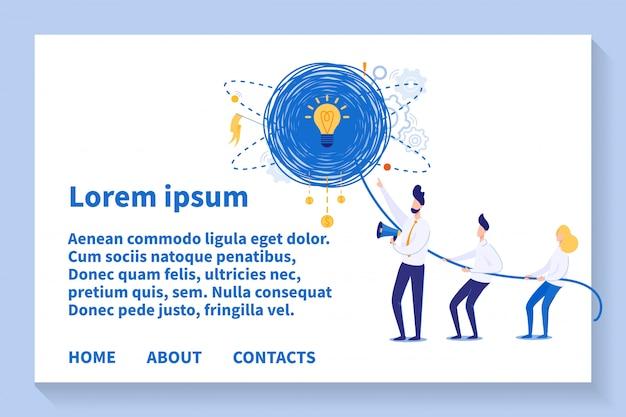 Pagina di destinazione del modello di lavoro di squadra e pensiero creativo