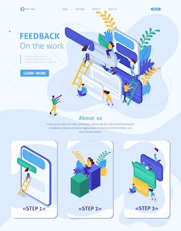 Pagina di destinazione del modello di sito web isometrico gli utenti di internet scrivono feedback sui servizi