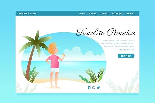 Pagina di destinazione del modello di viaggio
