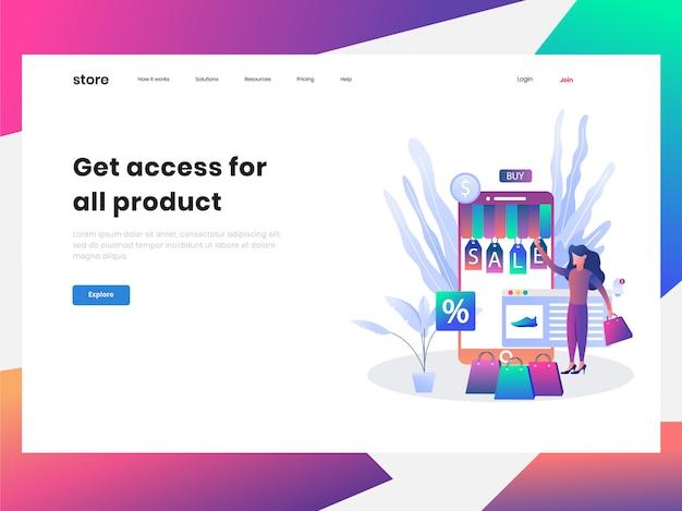 Pagina di destinazione del negozio online di e-commerce