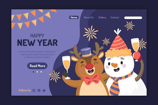 Pagina di destinazione del nuovo anno disegnato a mano