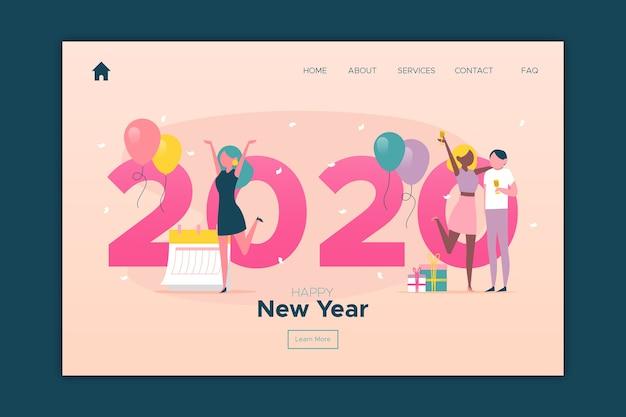 Pagina di destinazione del nuovo anno in design piatto