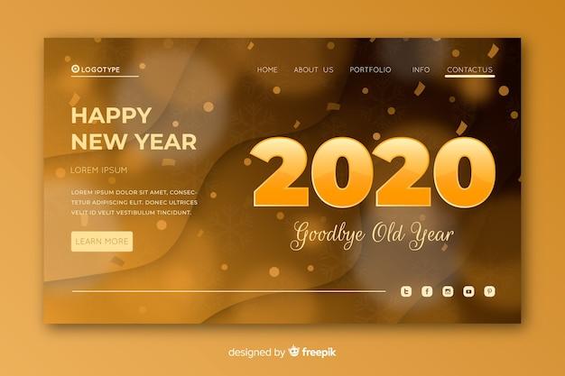 Pagina di destinazione del nuovo anno sfocata