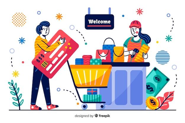 Pagina di destinazione del pagamento con carta di credito concept