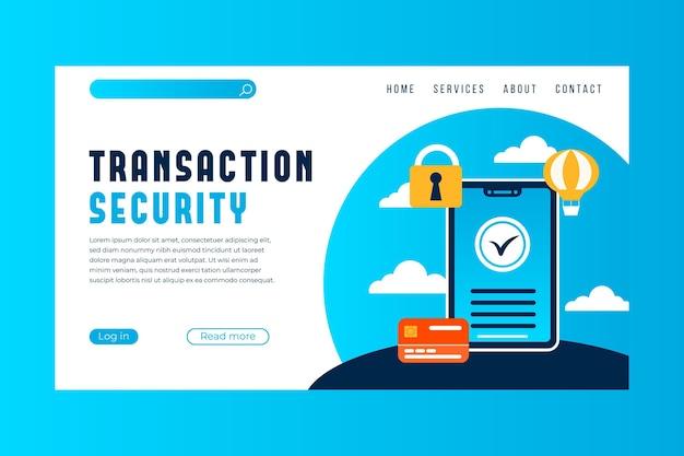 Pagina di destinazione del pagamento di sicurezza della transazione