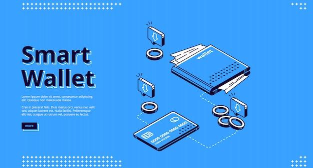 Pagina di destinazione del portafoglio intelligente, transazioni di denaro