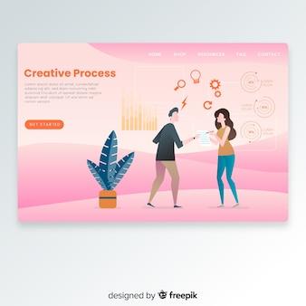 Pagina di destinazione del processo creativo disegnata a mano