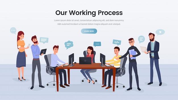 Pagina di destinazione del processo di lavoro della squadra di affari