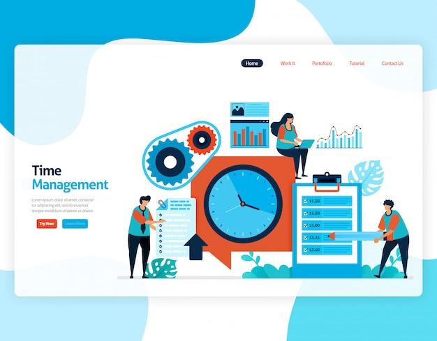 Pagina di destinazione del progetto di gestione del tempo e pianificazione dei lavori, pianifica e gestisci il lavoro in tempo, mancanza di tempo negli affari, lavora con il tempo.