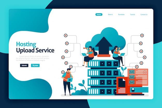 Pagina di destinazione del servizio di caricamento hosting