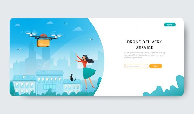 Pagina di destinazione del servizio di consegna con drone e giovane donna in attesa di un pacco dal negozio online in città