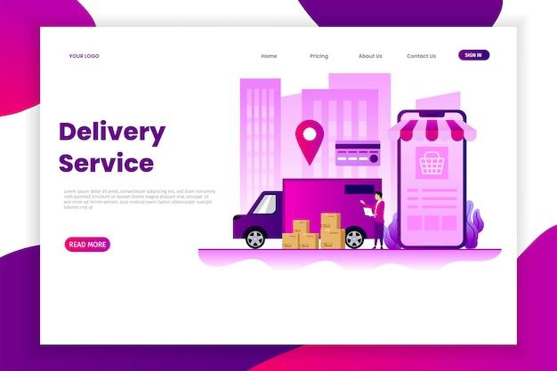 Pagina di destinazione del servizio di consegna del pacco