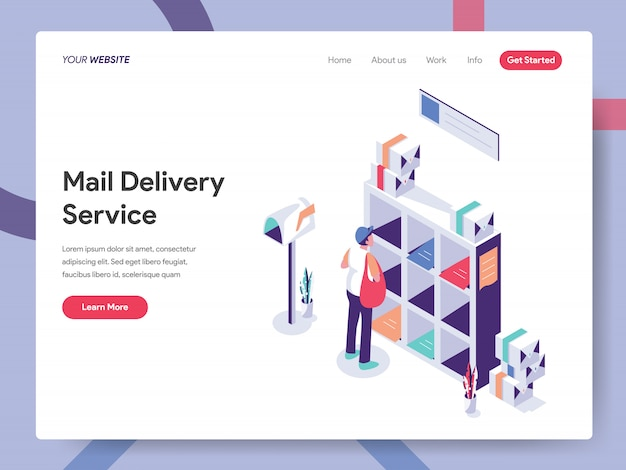 Pagina di destinazione del servizio di posta