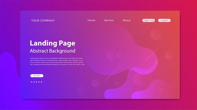 Pagina di destinazione del sito web con composizione di forme fluide
