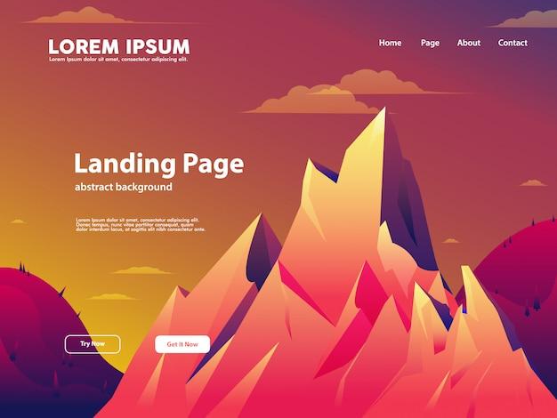 Pagina di destinazione del sito web con la natura e il concetto di montagna