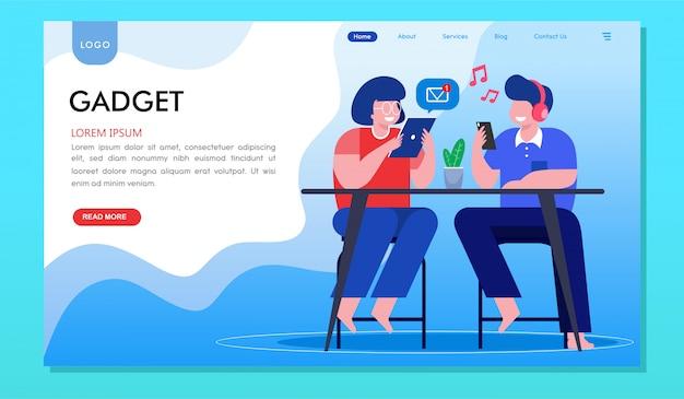 Pagina di destinazione del sito web dei millennial per smartphone con dipendenza da gadget