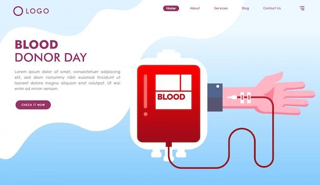 Pagina di destinazione del sito web del giorno dei donatori di sangue