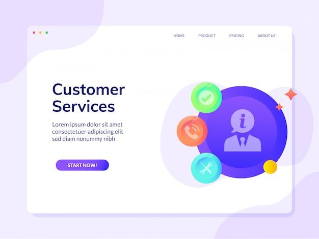 Pagina di destinazione del sito web del servizio clienti