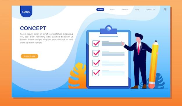 Pagina di destinazione del sito web di destinazione del raggiungimento dell'elenco di controllo del concetto