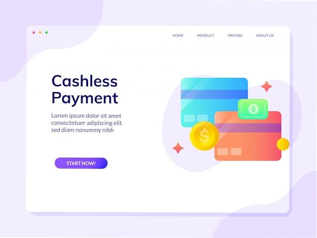 Pagina di destinazione del sito web di pagamento mobile senza contanti