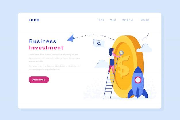 Pagina di destinazione del sito web di vettore di investimento di avvio