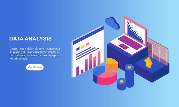 Pagina di destinazione del sito web isometrica per l'analisi dei dati.
