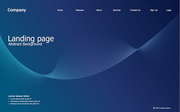 Pagina di destinazione del sito web, onda, linea, gradiente, sfondo astratto e moderno