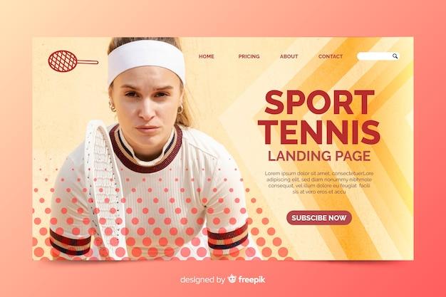 Pagina di destinazione del tennis sportivo