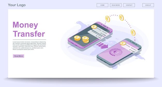 Pagina di destinazione del trasferimento di denaro globale isometrica