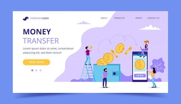 Pagina di destinazione del trasferimento di denaro, illustrazione di concetto per l'invio di denaro