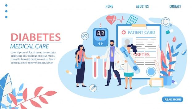 Pagina di destinazione del trattamento di diagnosi medica del diabete