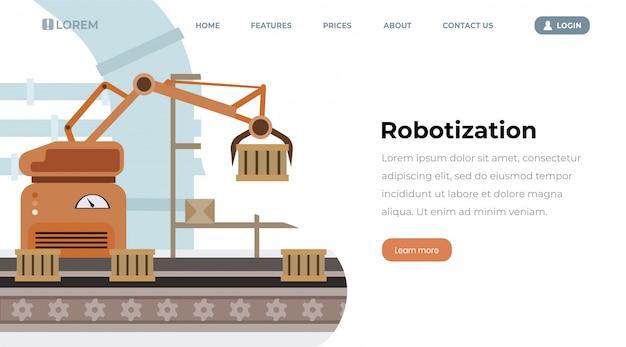 Pagina di destinazione del vettore di robotizzazione delle attrezzature di fabbrica. linea di produzione automatizzata, contenitori