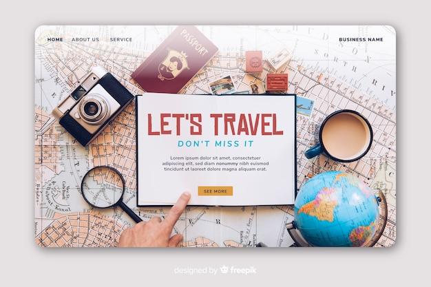 Pagina di destinazione del viaggiatore con foto
