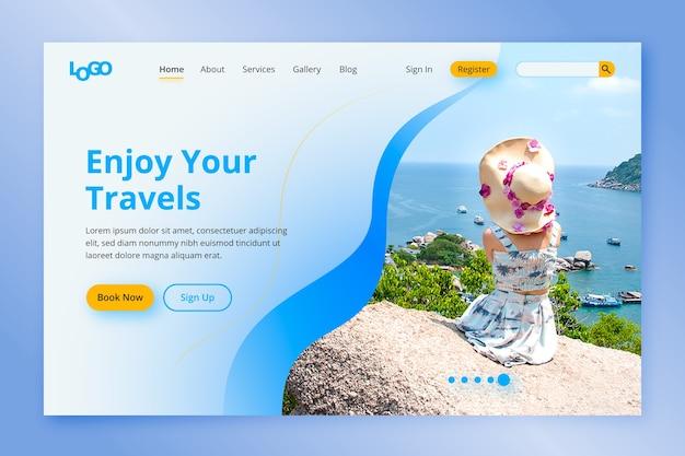 Pagina di destinazione del viaggio con foto