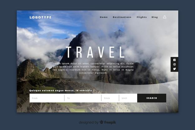 Pagina di destinazione del viaggio con immagine