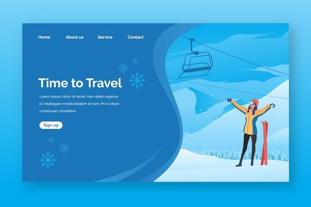 Pagina di destinazione del viaggio modello