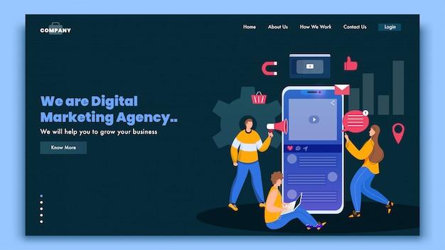 Pagina di destinazione dell'agenzia di marketing digitale con pubblicità online o marketing di persone su smartphone e laptop.