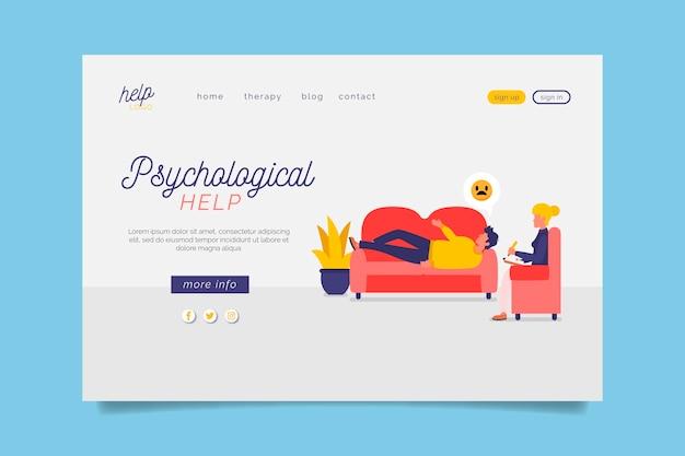Pagina di destinazione dell'aiuto psicologico con divano