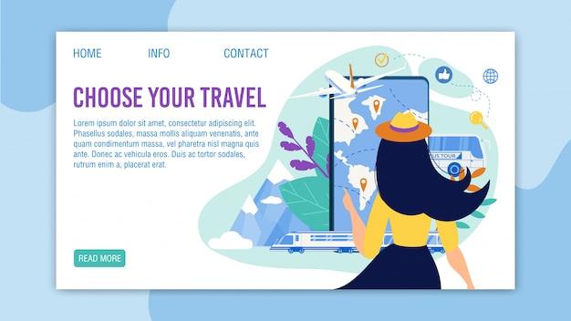 Pagina di destinazione dell'app di viaggio con menu tour di selezione