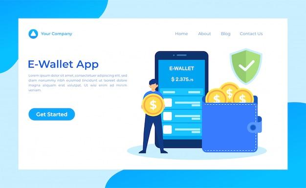 Pagina di destinazione dell'app e-wallet