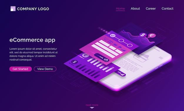 Pagina di destinazione dell'app ecommerce, pagamento mobile
