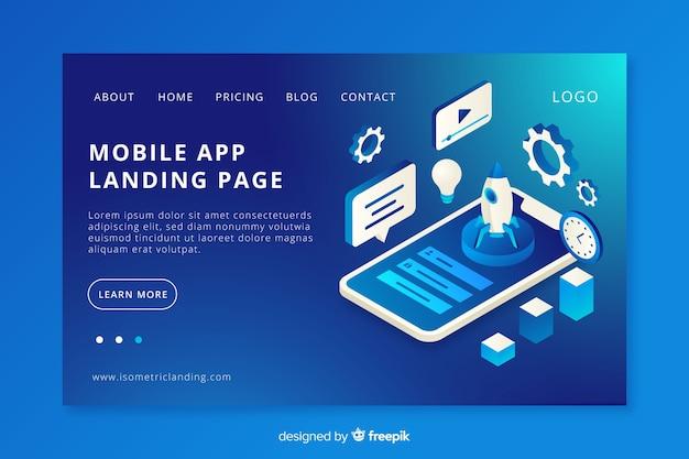 Pagina di destinazione dell'app per dispositivi mobili