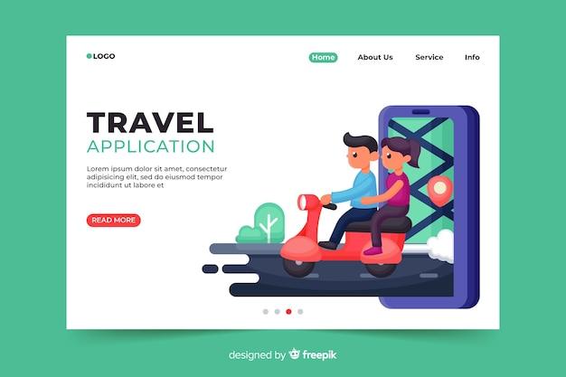 Pagina di destinazione dell'applicazione di viaggio